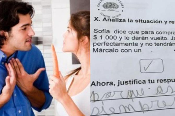 Morro pone en un examen que 'las mujeres siempre tienen la razón' #FOTO