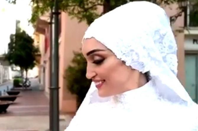 Novia posa para sesión fotográfica en el momento de la explosión en Beirut (+video)